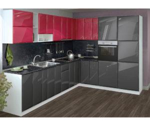 модерна кухня в черно и червено